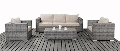 Polyrattan Gartenmöbel Lounge Sofaset Sitzgruppe Lissabon grau