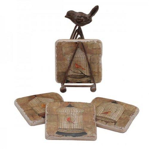Coaster Set with Bird Easel Holder