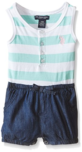 U.S. Polo Assn. Baby Striped Jersey and Denim Short Romper, Mint, 24 Months Embroidered Jersey Romper