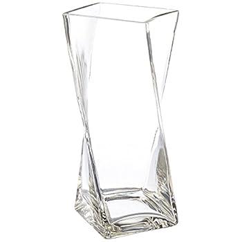WGV Clear Square Twist Block Glass Vase, 10-Inch