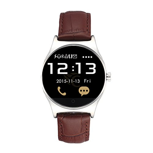 EasySMX-RWATCH-R11-Bluetooth-Smart-Watch-with-Leather-Strap-CallingClockPedometerHeart-Rate-MonitorMusic-PlayerShutter-Compatible-with-iOS-and-Android-System
