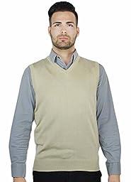 Blue Ocean Solid V-Neck Sweater Vest-Khaki-2X-Large