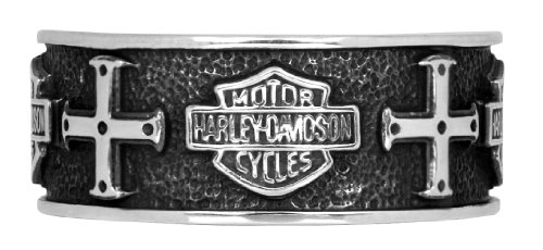 Harley-Davidson Mens .925 Silver Cross Band Ring by Mod Jewelry (9)
