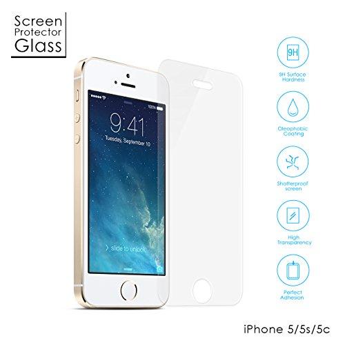 Aukey® amzdeal prime Protection écran en Verre Trempé INRAYABLE et ULTRA RÉSISTANT INDICE Dureté 9H Haute transparence pour iPhone 5S /5C /5