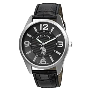 U.S. Polo Assn. Classic Men's USC50010 Analogue Black Dial Leather Strap Watch