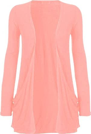 Fashion Womens Boyfriend Pocket Cardigan Shrug Sweater (S/M (6/8), BABY PINK)