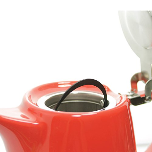Daze Ceramic Teapot - Keramik Teekanne - w/ Stainless Steel Lid & Infuser - #1 Best Teapot To Brew Loose Leaf Tea - 700ml (Red)
