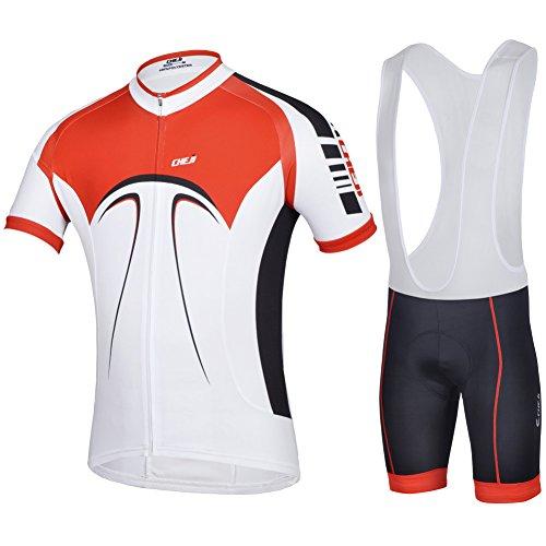 Chjie Men'S Cycling Bicycle Wear Short Sleeve Jersey Bib Shorts Suit Marco Fiber Fabric (X-Large)