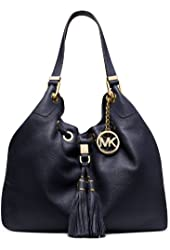 NEW AUTHENTIC MICHAEL KORS LARGE DRAWSTRING SHOULDER TOTE (Navy)