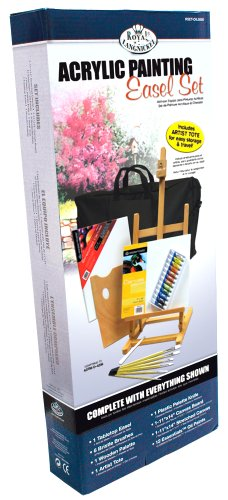 ARTIST PAINTING EASEL ACRYLIC PAINT, BRUSHES & PALETTE