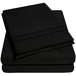 1500 Supreme Collection Bed Sheets - PREMIUM QUALITY BED SHEET SET & LOWEST PRICE, SINCE 2012 - Deep Pocket Wrinkle Free Hypoallergenic Bedding - Over 40+ Colors & Prints- 4 Piece, Queen, Black