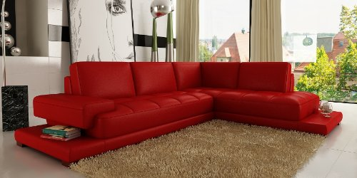 ledersofa leder sofa eckgarnitur palermo in rot wohnlandschaft couch. Black Bedroom Furniture Sets. Home Design Ideas