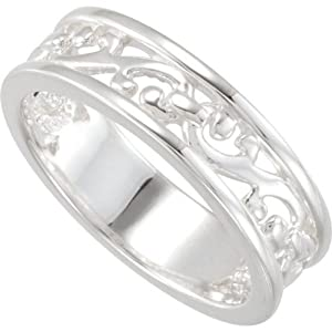 18k Palladium White Filigree Stackable Band, Size 6 to 7