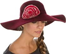 8441LFW - Sakkas Womens 100% Wool Wide Brim Foldable Floppy Hat with Faux Fur Accent - Burgandy/One Size