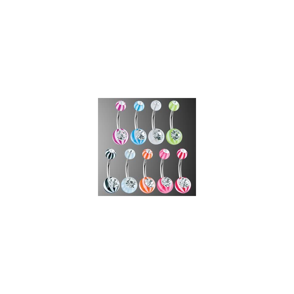 Stainless Steel Belly Rings w/ Double Jeweled UV Candy Striped Balls