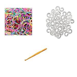 Ateamart Loom Bandz Lot de 600 élastiques de couleurs variées avec 25 clips et 1 crochet pour la couleur métallique et Tie Dye - Tie Dye Bright