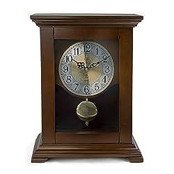 LNC Vintage Clock, Wood Pendulum Mantel Clock