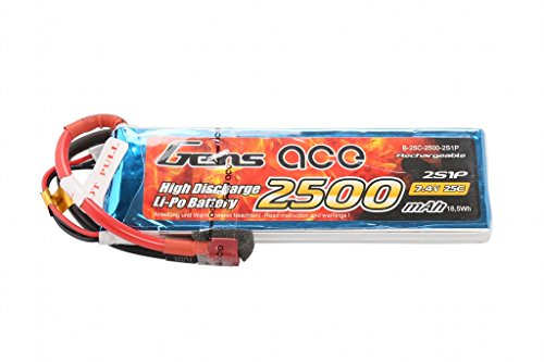Gens ace 2500mAh 7.4V 25C 2S1P Lipo Akku Pack for FPV Racing Quadcopters Diverse Racing Cars, Helikopter, Flugzeuge und Modellboote