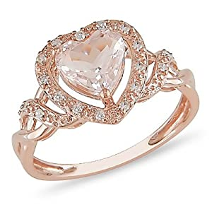 10k Rose Gold Morganite and Diamond Ring (.1 cttw, G-H Color, I2-I3 Clarity)