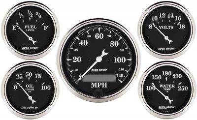 Autometer 1709 Old Tyme Black Series W Kit Box Speedometers