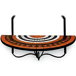 table de balcon tablette suspendue 76 x 40cm en mosaique motif roman sun jardin. Black Bedroom Furniture Sets. Home Design Ideas