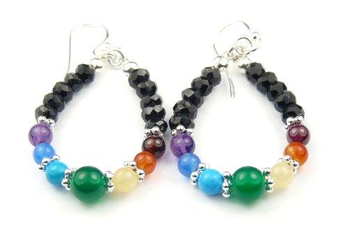 Damali - E04 - Chakra Earrings: Hoop Beaded Earrings