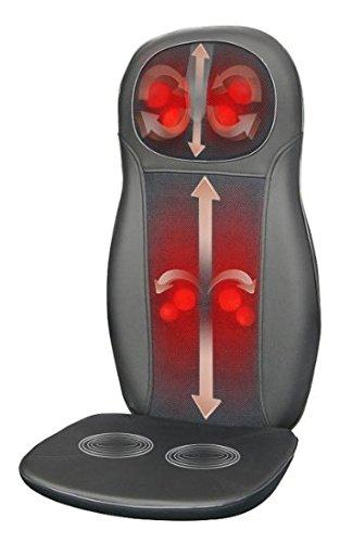 Zyllion ZMA-14-BK FDA Listed Shiatsu Neck & Back Massager Cushion with Heat (Black)- One Year Warranty
