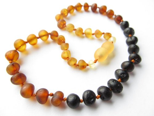 The Art of Cure Baltic Amber Teething Necklace for Baby (raw rainbow) - Anti-inflammatory - 1