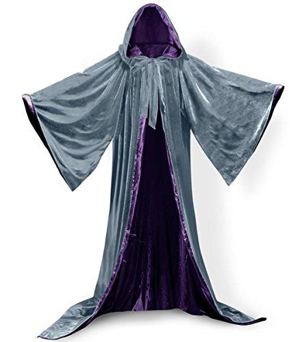 [PingFeng Wizard Robe Velvet Hood Cloak Wicca LARP Goth Costume Gray-Purple XL] (Purple Hooded Robe Adult Costumes)