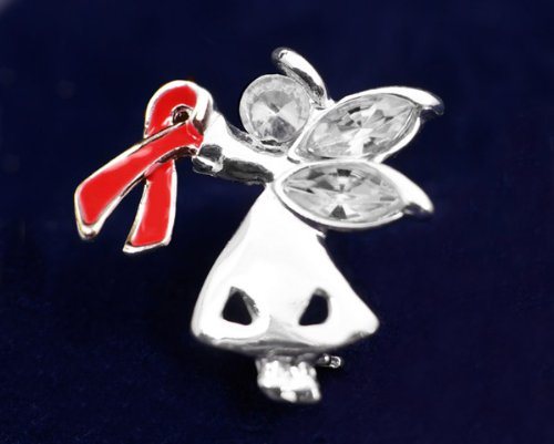 Red Ribbon Pin-Angel By My Side (27 Pins)