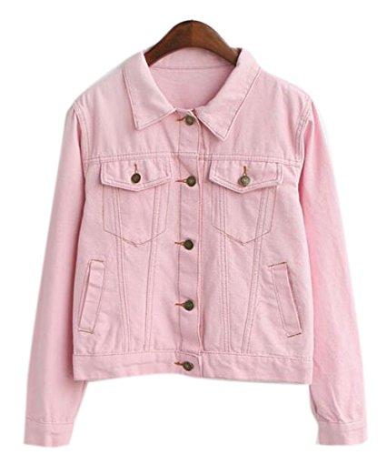 womens-cool-slim-fit-outwear-short-polo-denim-jacket-jean-coat-with-pockett-pink