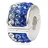 Blue Crystal Locking Clip - Sterling Silver Charm Bead - fits Pandora, Chamilia etc style Bracelets - SpangleBead