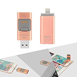 Digfuns i-FlashDevice iPhone 32GB USB 3.0 Dual USB Ports with Lightning Connector External Storage Memory Expansion Compatible for iPhone 5/5S/iPhone 6/6S/Plus/iPad /Mac/iPod Memory Built-in Rose Gold