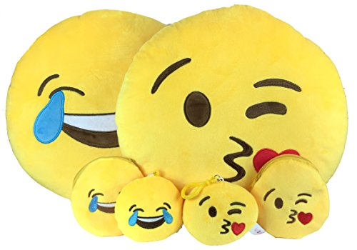 Emoji Cuscino Free portachiavi catena e morbido denaro Portafoglio Portamonete Smiley Fake Poop Throw cuscino emoticon Cute a forma di peluche Love Giallo Rotondo Marrone Set Regalo Grande giocattolo divertente Merchandise - Accessori tutto per bambini prime (Poop) Laughter & Kisses