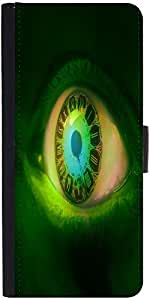 Snoogg Clock In A Green Eye 2605 Graphic Snap On Hard Back Leather + Pc Flip ...