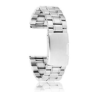 20 mm Venda De Reloj De La Correa De Acero Inoxidable Sólido Con Hebilla Del Despliegue - De Color Plata de Genérico