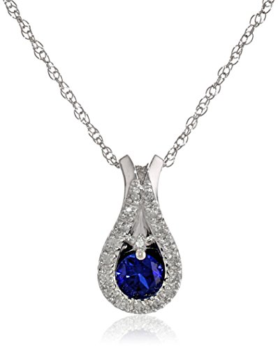 10k White Gold Teardrop Created Blue Sapphire Diamond-Accent Pendant Necklace (0.05 cttw, I-J Color, I2-I3 Clarity), 18""