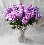 [Neustadt] 本物 そっくり 美しい パープル 薄紫の 薔薇 20本 造花の バラ インテリア プロポーズなどに