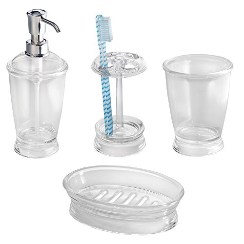 Mdesign bath accessories set 4 piece plastic clear home for Bathroom accessories plastic