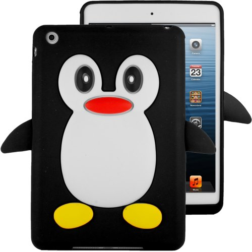 Hhi Silicone Skin Case For Ipad Mini - Black Penguin (Package Include A Handhelditems Sketch Stylus Pen)