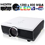 1080p HD 3D LED Home Theatre Projector with 2000 ANSI Lumen Multi-media LED HDMI/ VGA/ TV/ S-Video/ USB/ YPbPr/ AV In Multiple Interface (Single-chip LCD + LED Technology, 1280 x 800 Pixels)