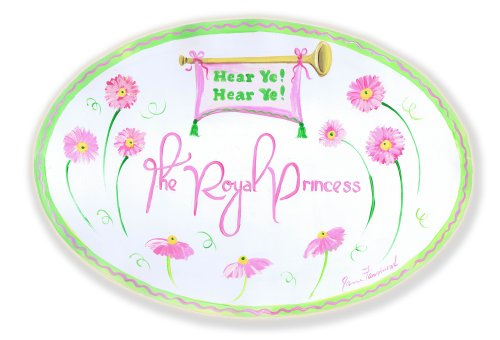 The Kids Room by Stupell Hear Ye! Hear Ye! The Royal Princess with Pink Daisies Oval Wall Plaque