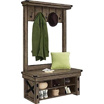 Altra Furniture Wildwood Wood Veneer Entryway Hall Tree with Storage Bench, Rustic Gray