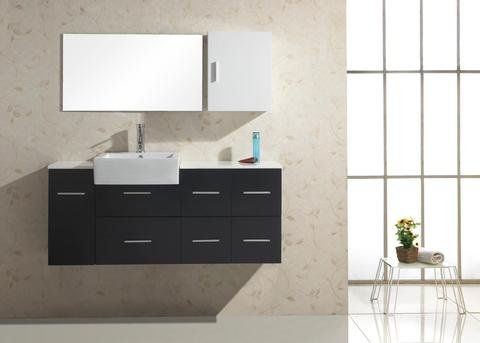 Virtu USA UM-3055 Hazel 57-Inch Wall-Mounted Single Sink Bathroom Vanity with White Stone Countertop, Mirror and Medicine Cabinet, Black Finish
