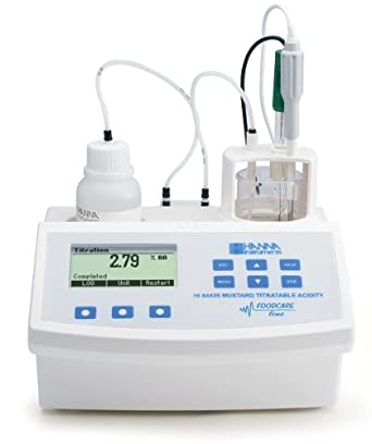Hanna Instruments HI84435-01 Titratable Acidity Mini Titrator and pH Meter, For Mustard, 115V, +/-0.01 pH Accuracy, 0.1 pH / 0.01 pH Resolution
