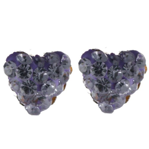 Adorable 14K Post Back Heart Purple Crystal Earrings!