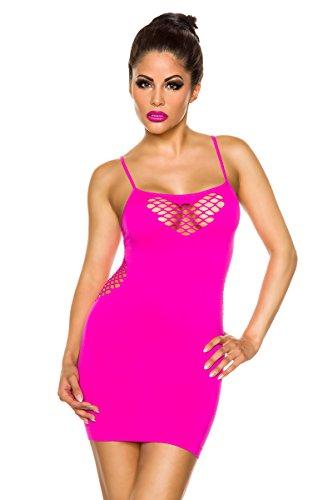 Angesagtes Tube-Kleid mit Cutouts mit schmalen Trägern in Neon-Pink, One-Size