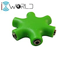 iConnect World - 3.5mm Multi Headphone Splitter cable adapter (Multi Green)