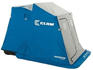 Clam 9541 Nanook Portable 2 Person Ice Fishing Trap Sled Shelter w  Swivel Seat