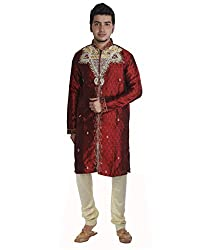 JBN Creation Men Maroon Silk Sherwani with Hand Embroidery